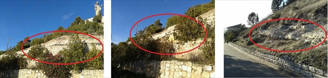 Ejemplos de zonas erosionadas en estratos
