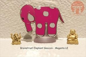 Brainstrust Elephant Geocoin - Magenta LE