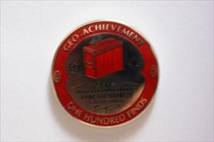 100 Finds Geo-Achievement Geocoin