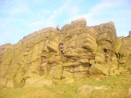 Climbers at Windgather Rocks