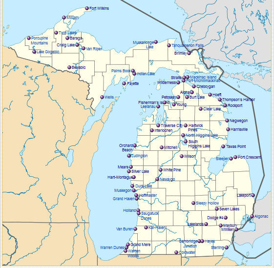 Map Of State Parks In Michigan Michigan Map - Mi state map
