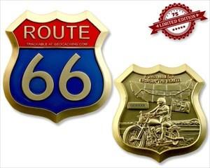 Route 66 Geocoin - Satin Gold XLE 75