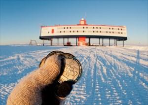 Tobor geocoins in Antarctica