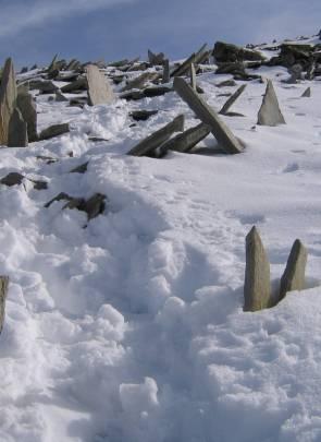 Fels, Schnee und Eis