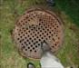 Topside manhole cover.