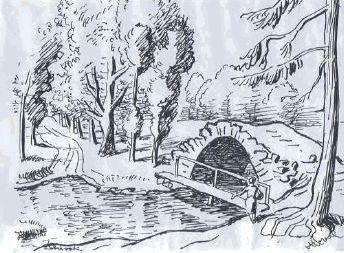 Svedsky most zachyceny malirem Aloisem Moravcem v roce 1937