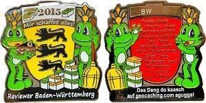 Reviewer BadenWürttemberg 2015 Geocoin - Black L