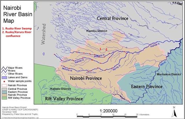 GCYPRJ Karura Forest Ruaka River Swamp Traditional Cache - Kenya rivers map