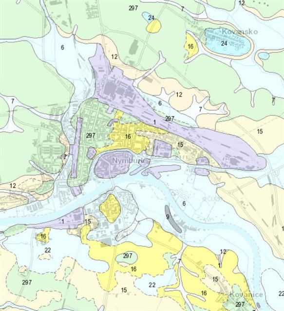 Geologicka mapa Nymburka