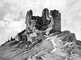 Rozpadlý donjon na staré kresbě