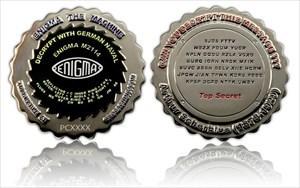 Enigma Geocoin Polished Silver / Black Nickel