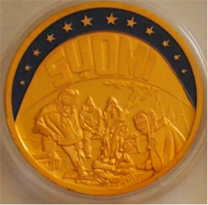 a golden coin lookalike, made out of solid copper