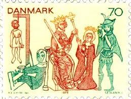 Danish stamp with mural from Tirsted Church - Dänischer Stempel mit Wandbild von der Tirsted Kirche - Frimærke med kalkmaleri fra Tirsted kirke