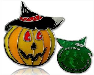 Halloween Kürbis Geocoin Grün LE