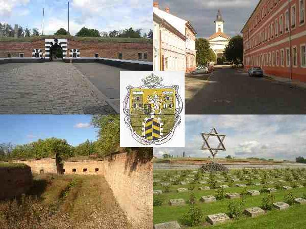 Mosaic of Terezin: gate of the Small Fortress, Church of the Resurrection, moat and casemates, graves at the National Cemetery. Photos by Toniczech.