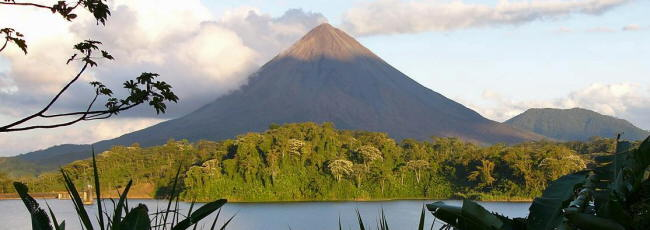 Arenal Volcano from across Lake Arenal
