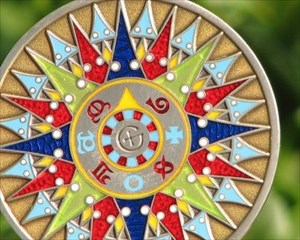 Compass Rose 2008 Geocoin - Silver / Bronze - F