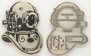 Saffier & Stekelsteef Personal Geocoin - Helmet