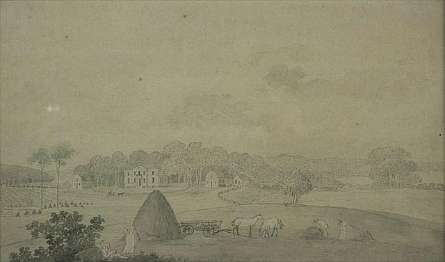 Frederikslund tegnet af Søren L. Lange i 1820. (Fra Rudersdal Museers samling).