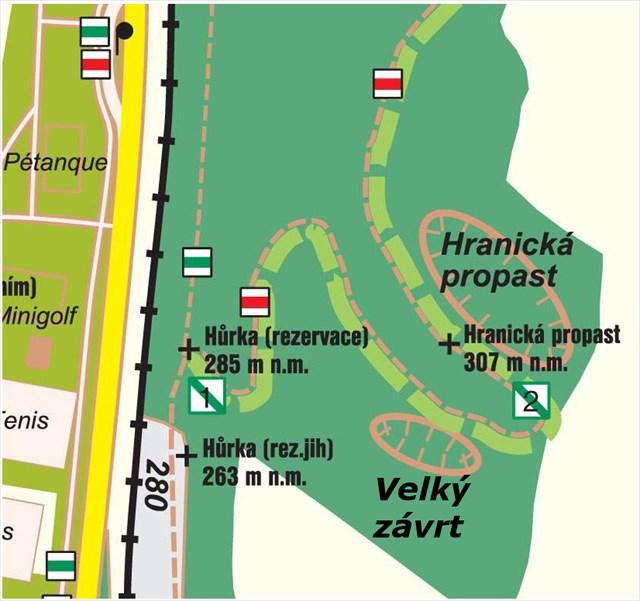 Výřez z turistické mapy