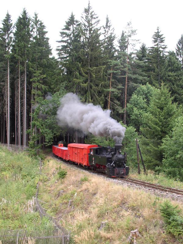 Parni vlak projizdi pod hrazi