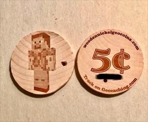Peamite's Minecraft Wooden Nickel Geocoin