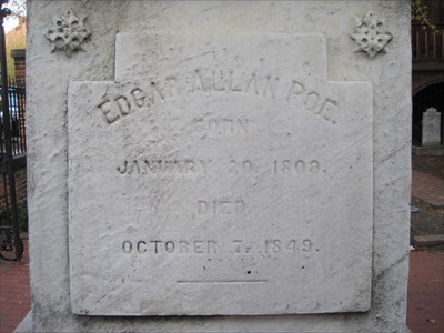 Grave of Edgar Allen Poe at Westminster Burial Grounds