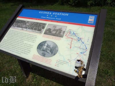 My buddy, Little Bush, checks out the CWDT marker about Grant`s maneuver south through Guinea Station.
