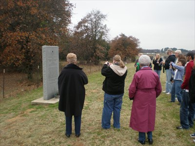 Bonnie & Clyde historical tour group at the memorial.