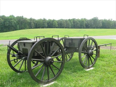 A supply wagon on the Wilderness Battlefield