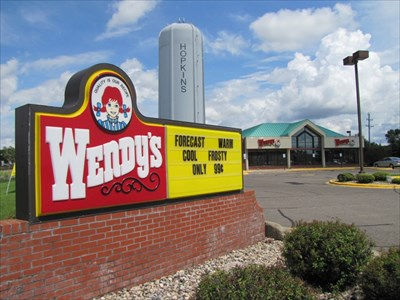 Wendy's Sign in front of Hopkins Water Tower, Hopkins, MN