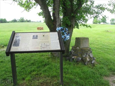 Veterans of Woodson`s MO Cavalry erected a monument where they came under heavy artillery fire on the New Market battlefield.