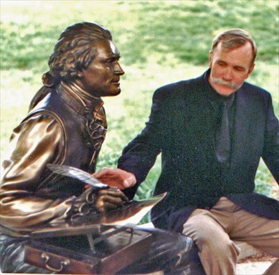 Sculptor George Lundeen was there for the dedication of his seated Thomas Jefferson.