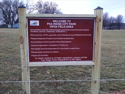 Ball Field #4 at Pea Ridge City Park, by MountainWoods. The sign for the ball fields area.