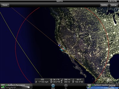 GoISSWatch Screenshot of space station path