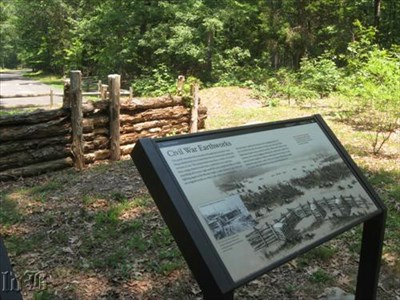 This section of the earthworks has been reconstructed to show what they looked like during the Civil War. Today, the logs are long gone, but the mounds of dirt still remain the same.