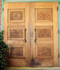 Image for Flora M. Laird Memorial Library Carved Door  -  Myrtle Point, OR