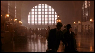 A closup of the two walking inside Buffalo's Central Terminal.