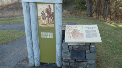 This sign is located at stop two, and has information on the surrounding area.