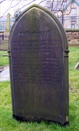 Headstone on the grave of the Rev. Scarfe. M.A. In the Holy Trinity Churchyard, Elsecar.