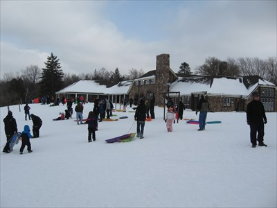 A lot of people today using the lodge and playing on the hill.
