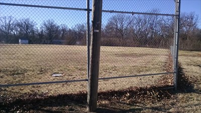 Ball Field at Seligman City Park, by MountainWoods. Looking through the back stop toward the right field.