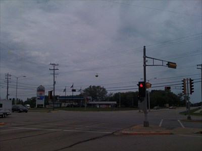 Image is a little dark but you can see the Ball hanging over the intersection.
