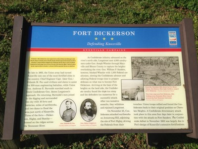 Fort Dickerson, Civil War Trails Sign, Knoxville, Tennessee