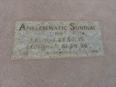 "Sundail location N 27*56'19"" W 81*34'613"" Bok Gardens, Lake Wales."