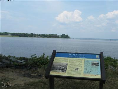 9 - The terminus of Aquia Landing and the Aquia Landing - Supply Base for the Union Army sign facing Aquia Creek and Potomac River