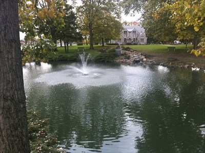 Tranquil Pond With Fountain, Dayton, Ohio