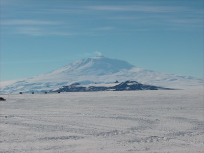 View from the Ice Runway towards Mt. Erebus, Ross Island Antarctica.