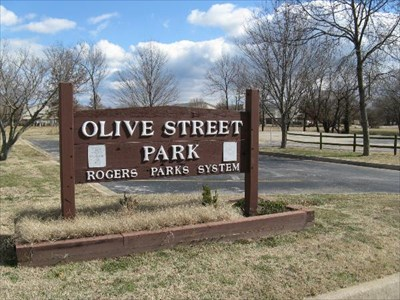 OLIVE STREET PARK SIGN ROGERS ARKANSAS