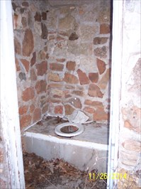 Outhouses at Vine Hill School/Church, by MountainWoods.  Inside of the privy for men.